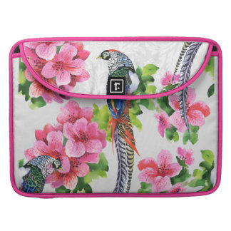 Pink Flowers & Colorful Pheasant Birds Pattern Sleeves For MacBook Pro