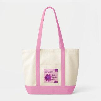 Pink Flowers Custom Name Best Teacher Ever G321 Tote Bag