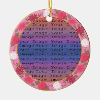 Pink Flowers Custom Round Ornament