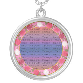 Pink Flowers Custom Round Silver Necklace