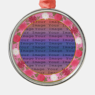 Pink Flowers Custom Round Silver Ornament