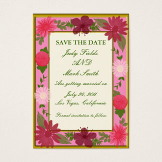 Pink Flowers Custom Save The Date Card