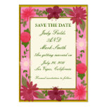 Pink Flowers Custom Save The Date Card Business Cards