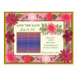 Pink Flowers Custom Save The Date Postcard
