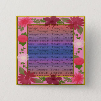 Pink Flowers Custom square Button