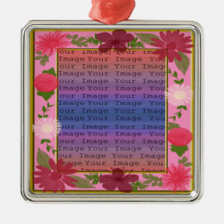 Pink Flowers Custom Square Silver Ornament