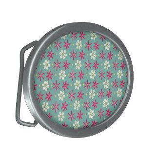 Pink Flowers & Daisies Aqua Oval Belt Buckle