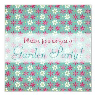 Pink Flowers & Daisies Aqua Card