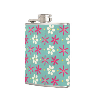 Pink Flowers & Daisies Aqua Flasks