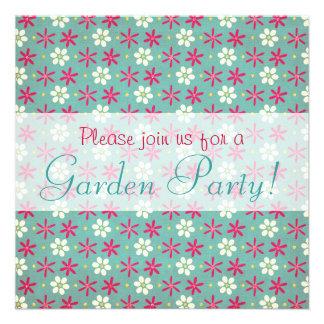 Pink Flowers & Daisies Aqua Personalized Invitations