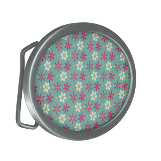 Pink Flowers & Daisies Aqua Oval Belt Buckles
