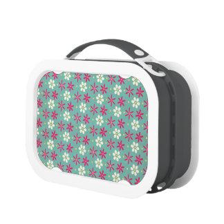 Pink Flowers & Daisies Aqua Yubo Lunch Box