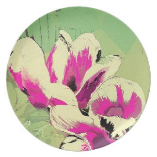 Pink Flowers Digital Image by Carol Zeock Plate