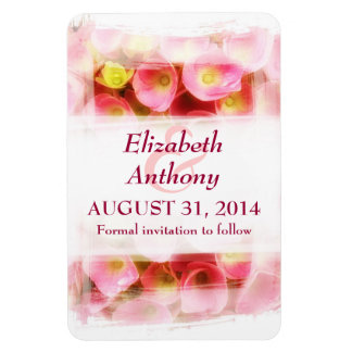 pink flowers elegant save the date magnets