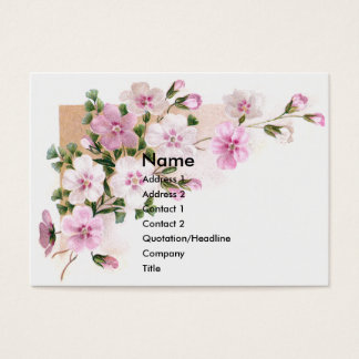 Pink Flowers & Ferns Victorian Trade Card