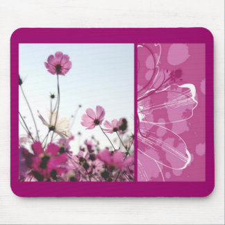 Pink flowers floral nature designer beautiful girl mouse pad