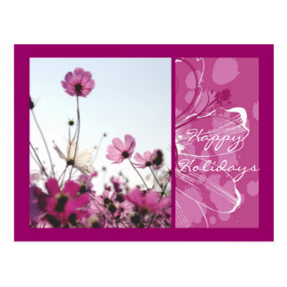 Pink flowers floral nature happy holidays designer postcard