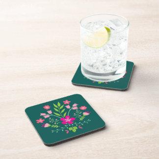 Pink Flowers Floral Pattern Beverage Coaster