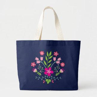 Pink Flowers Floral Pattern Large Tote Bag
