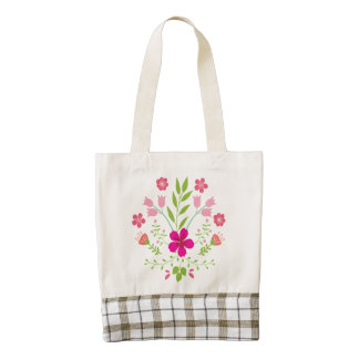 Pink Flowers Floral Pattern Zazzle HEART Tote Bag
