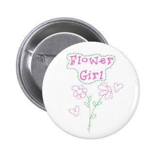 Pink Flowers Flower Girl Pinback Buttons