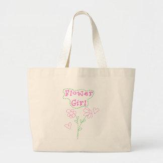 Pink Flowers Flower Girl Large Tote Bag