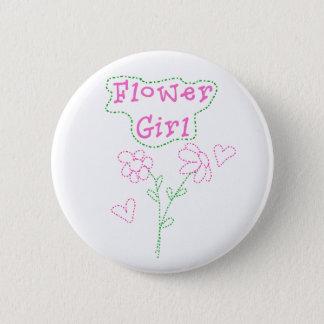 Pink Flowers Flower Girl Pinback Button