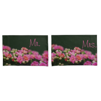 Pink Flowers for Mr. and Mrs. Pillow Case