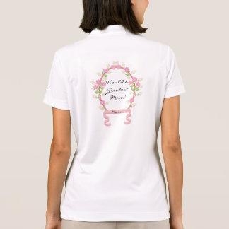 Pink Flowers Frame Pixel Art Polo Shirt