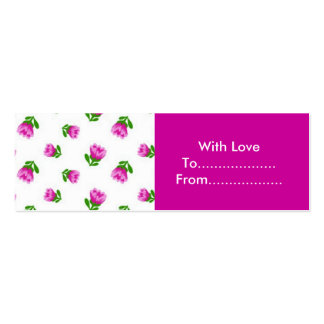 Pink flowers gift tags mini business card