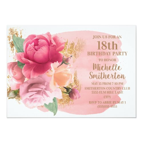 Pink Flowers Gold Glitter 18th Birthday Party Invitation