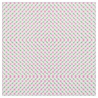 Pink Flowers Green Leaves Custom Fabric