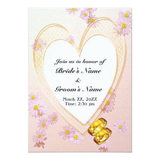 Pink Flowers, Heart Frame, Rings Rehearsal Dinner Card