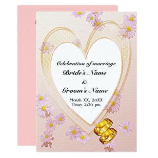 Pink Flowers, Heart Frame, Rings Wedding Invite