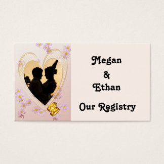 Pink Flowers, Heart, Gold Rings Registry Card