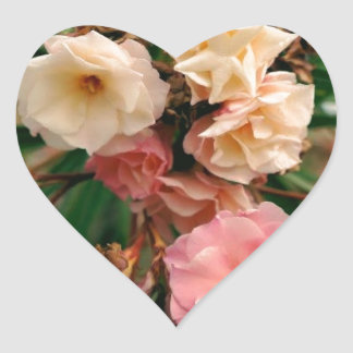 Pink Flowers Heart Sticker