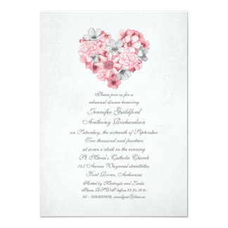 pink flowers heart vintage rehearsal dinner 5x7 paper invitation card