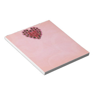 Pink Flowers Heart Wreath Note Pad