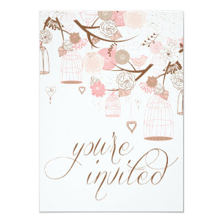 "Pink Flowers Hearts & Birdcages Wedding Invitation 5"" X 7"" Invitation Card"