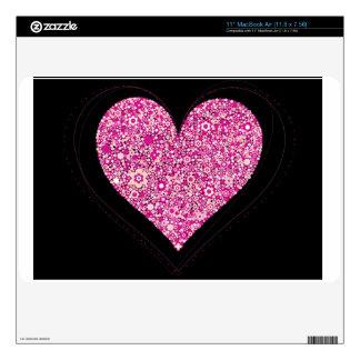 """Pink Flowers Hearts 11"""" MacBook Air Skin"""