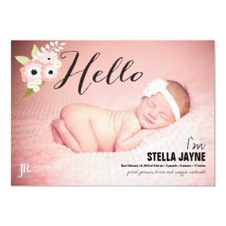 Pink Flowers Hello Baby | Baby Announcement