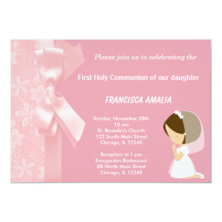 Pink Flowers Holy Communion 5x7 Paper Invitation Card