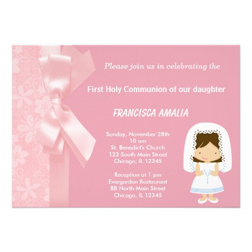 Pink Flowers Holy Communion Custom Announcements