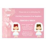 Pink Flowers Holy Communion Twins Custom Invitation