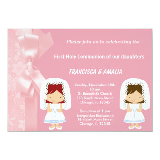 "Pink Flowers Holy Communion Twins 5"" X 7"" Invitation Card"