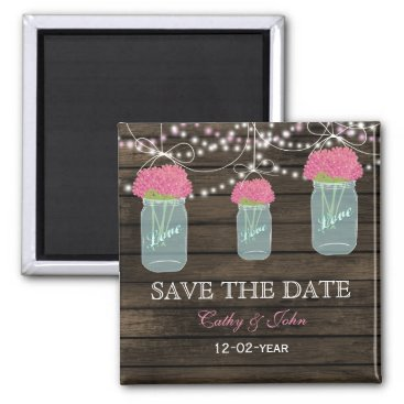 pink flowers in a mason jar save the Date Magnet