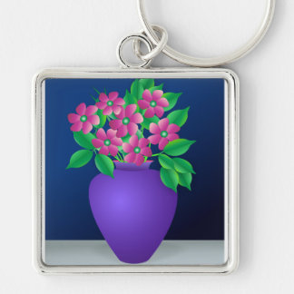 Pink Flowers in a Vase Keychain