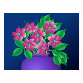 Pink Flowers in a Vase Postcard