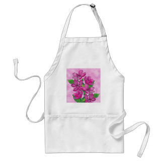 Pink flowers in acrylic adult apron