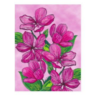 Pink flowers in acrylic postcard